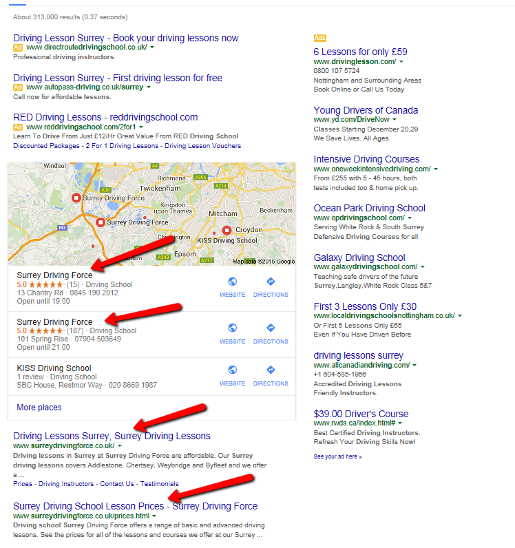 This image highlights how effective a combination of our 'on-page' and 'off-page' techniques can be. By targeting the key phrase 'Driving Lessons Surrey' for our client Surrey Driving Force, we have managed to obtain 4 of the top 5 listings for the organic (non paid for) listings on Google's first page.